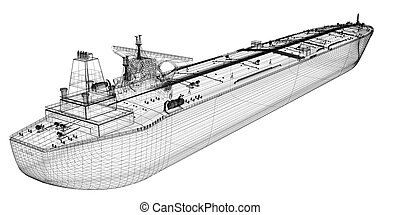 Tanker crude oil carrier ship, 3D model body structure, wire model