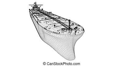 Tanker crude oil carrier ship, 3D model body structure, wire...