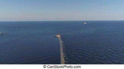 Tanker in open sea, ocean, big merchant ship vessel cruise drone flight 4k