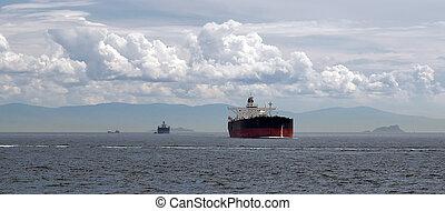 tanker in the Channel Bosphorus Strait international logistic sea, Istanbul, Turkey