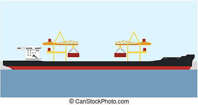 Tanker - Loading the container on a ship