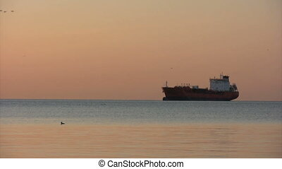 Tanker - oil tanker at sunrise with geese flying in...
