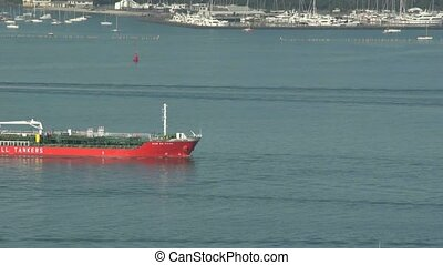 Tanker on Auckland harbour.