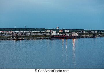 Tanker on Coast at Dusk