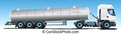 Tanker semi-trailer Truck - Vector illustration of a semi...