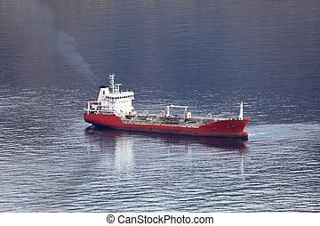 Tanker ship anchoring at the coast