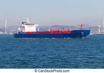 Tanker Ship at Bosphorus, Istanbul, Turkey