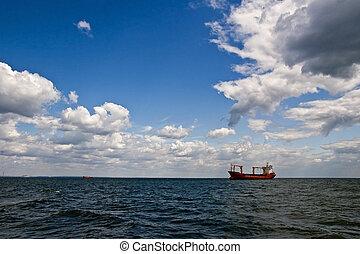 Tanker ship in open sea