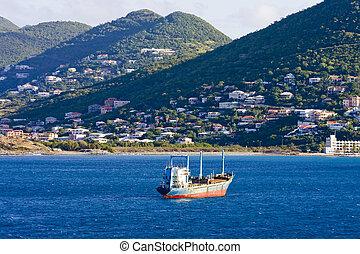 Tanker Ship Into Tropical Island