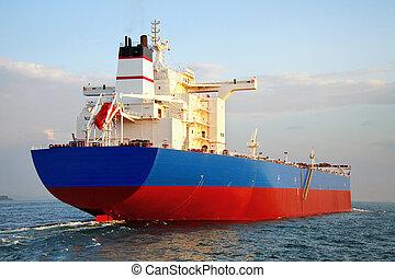 Large blue tanker ship