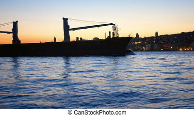 Tanker ship sea evening - Tanker ship moving in sea at night