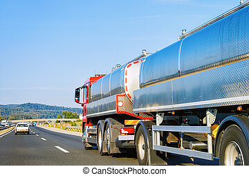 Tanker storage truck in highway Poland