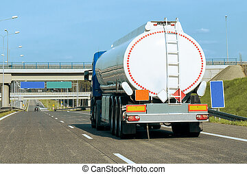 Tanker storage truck on highway in Poland - Tanker storage...