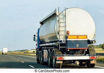 Tanker storage truck on highway of Poland - Tanker storage...
