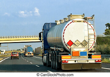 Tanker storage truck on highway Poland - Tanker storage...
