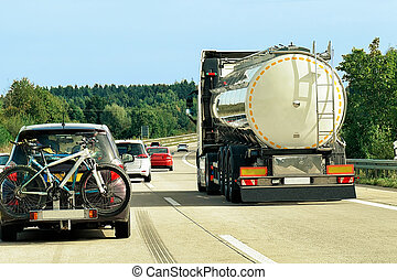 Tanker storage truck on road in Germany