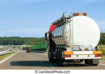 Tanker storage truck on road of Poland