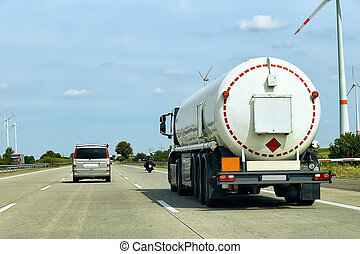 Tanker storage truck on roadway in Germany - Tanker storage...