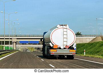 Tanker storage truck on roadway Poland
