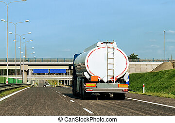Tanker storage truck on roadway Poland - Tanker storage...