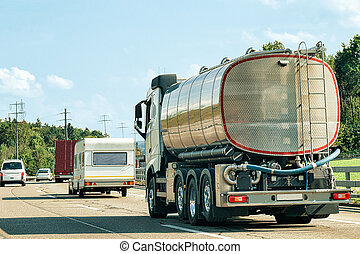 Tanker storage vessel on road in canton Geneva of...