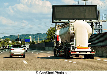 Tanker storage vessel on road in canton Geneva Switzerland -...
