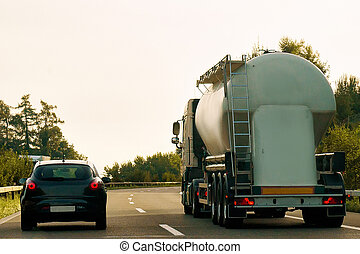Tanker storage vessel on road in canton Zurich Switzerland -...