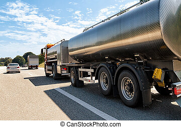 Tanker storage vessel on roadway in Switzerland - Tanker...