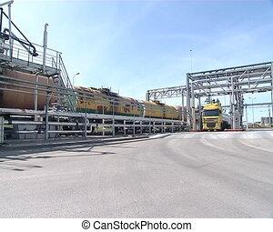 tanker train terminal - tankers of freight train near...