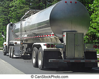Tanker Truck - big fuel gas tanker truck on highway