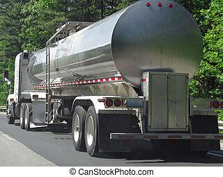 Tanker Truck - big fuel gas tanker truck on highway