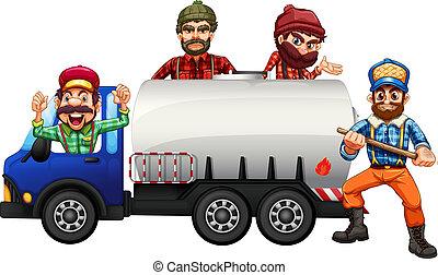 Tanker truck driver on white background