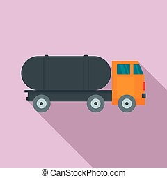 Tanker truck icon, flat style