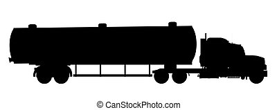Tanker Truck Silhouette - A large fuel truck in silhouette...