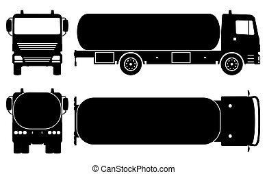Tanker truck silhouette vector illustration with side, front, back, top view