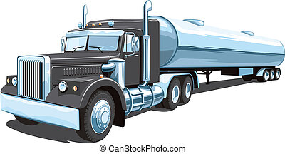Vector isolated black tanker truck on white background, without gradients and transparency