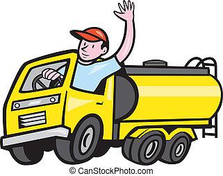 TankerTruck Driver Waving Cartoon