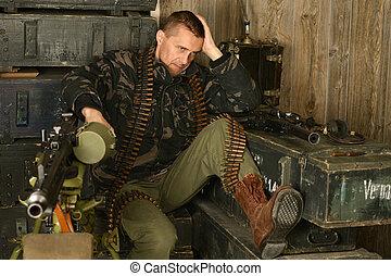 tankfull, beväpnat, soldat, sitt