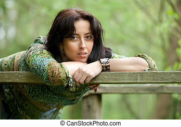 tankfull, kvinna, in, natur