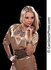 tankfull, ung, blondin, in, a, klänning