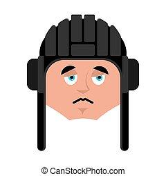 Tankman sad emoji. Russian soldier sorrowful emotion avatar....