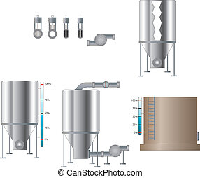 Tanks and Valves - Tanks, valves and pump set. Vector set...