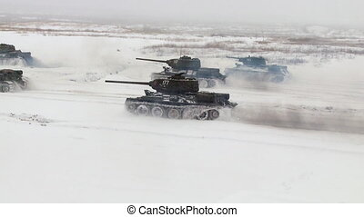 Tanks attack. Audio included - MOSCOW, RUSSIA - DECEMBER 25:...