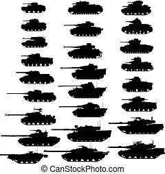Evolution of the tank. Detailed vector illustration. Silhouette. Isolated on white