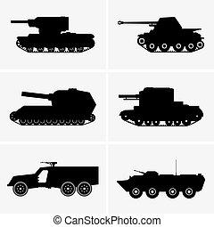 Set of six tanks