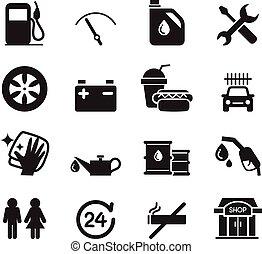 tankstelle, ikone, satz