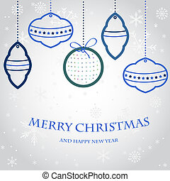 tanne, abend, festlicher, uhr, baum, vektor, satz, year's, kugeln, neu , weihnachtsglocken