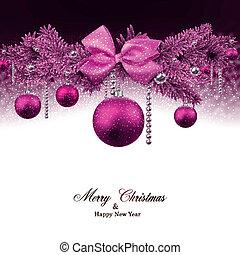 tanne, balls., zweige, weihnachten, hintergrund