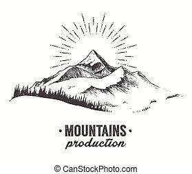 tanne, berge, vektor, sonnenuntergang, wald, gezeichnet, sonnenaufgang