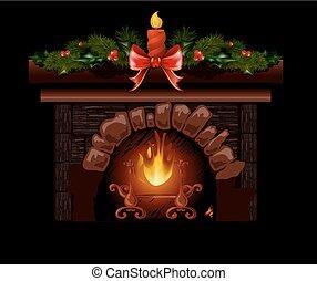 tanne, decoration., baum, abbildung, kaminofen, weihnachten